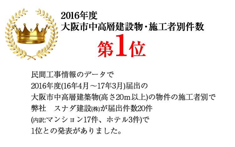 大阪市中高層建設物施工者別件数第1位